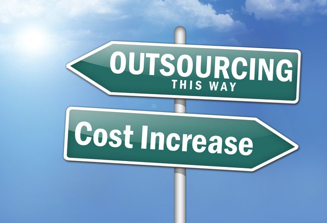 """Way Signs """"Outsourcing, This Way - Cost Increase"""""""